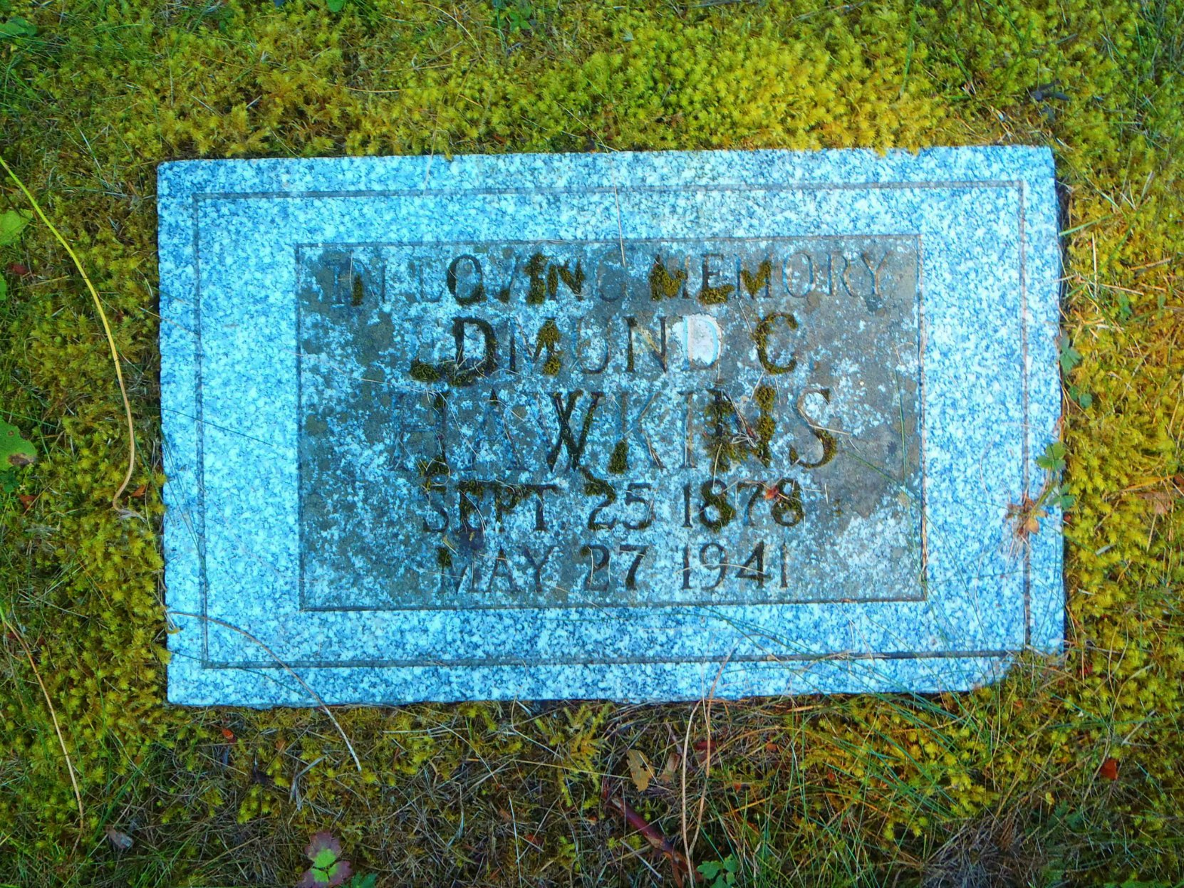 Edmund Coston Hawkins headstone, All Saints Anglican Cemetery, Westholme, B.C.
