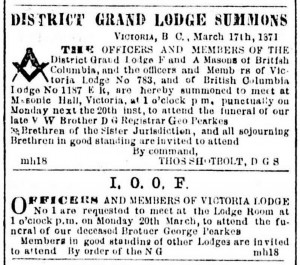 George Pearkes death and funeral notices in the Victoria newspapers, March 1871