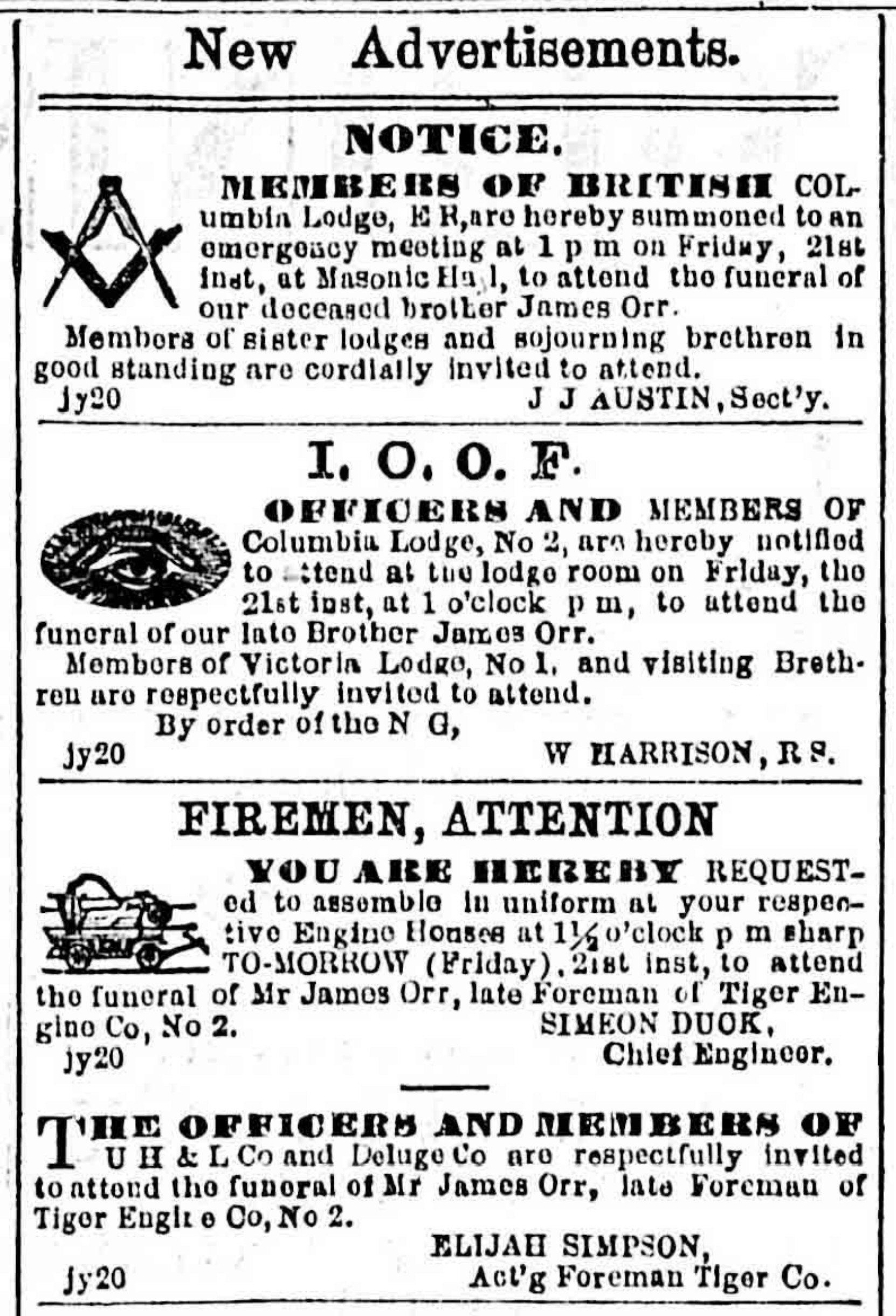 James Orr death and funeral notices in the Victoria newspapers, July 1871