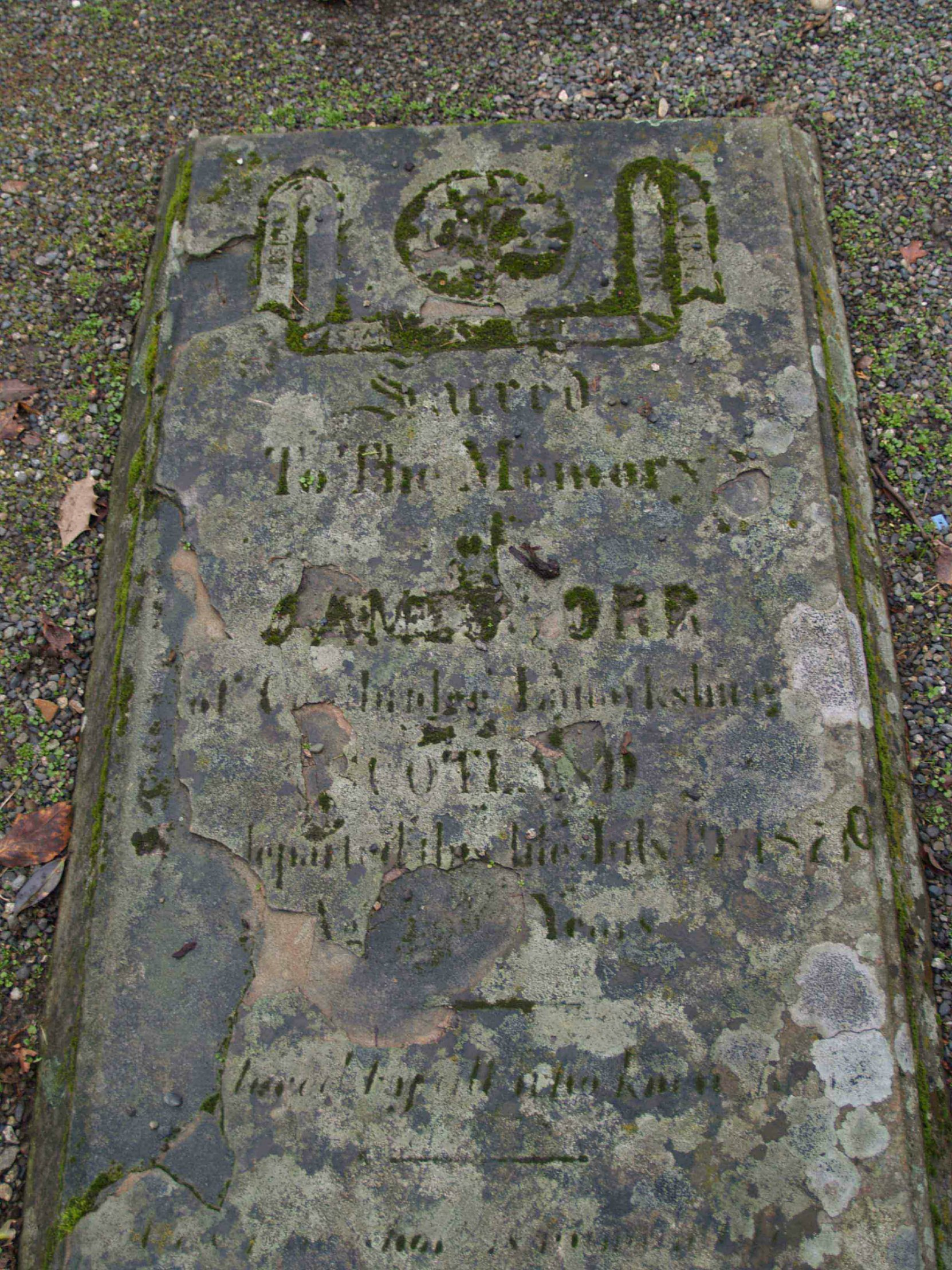 Imagery on James Orr tombstone, Pioneer Square, Victoria, B.C.