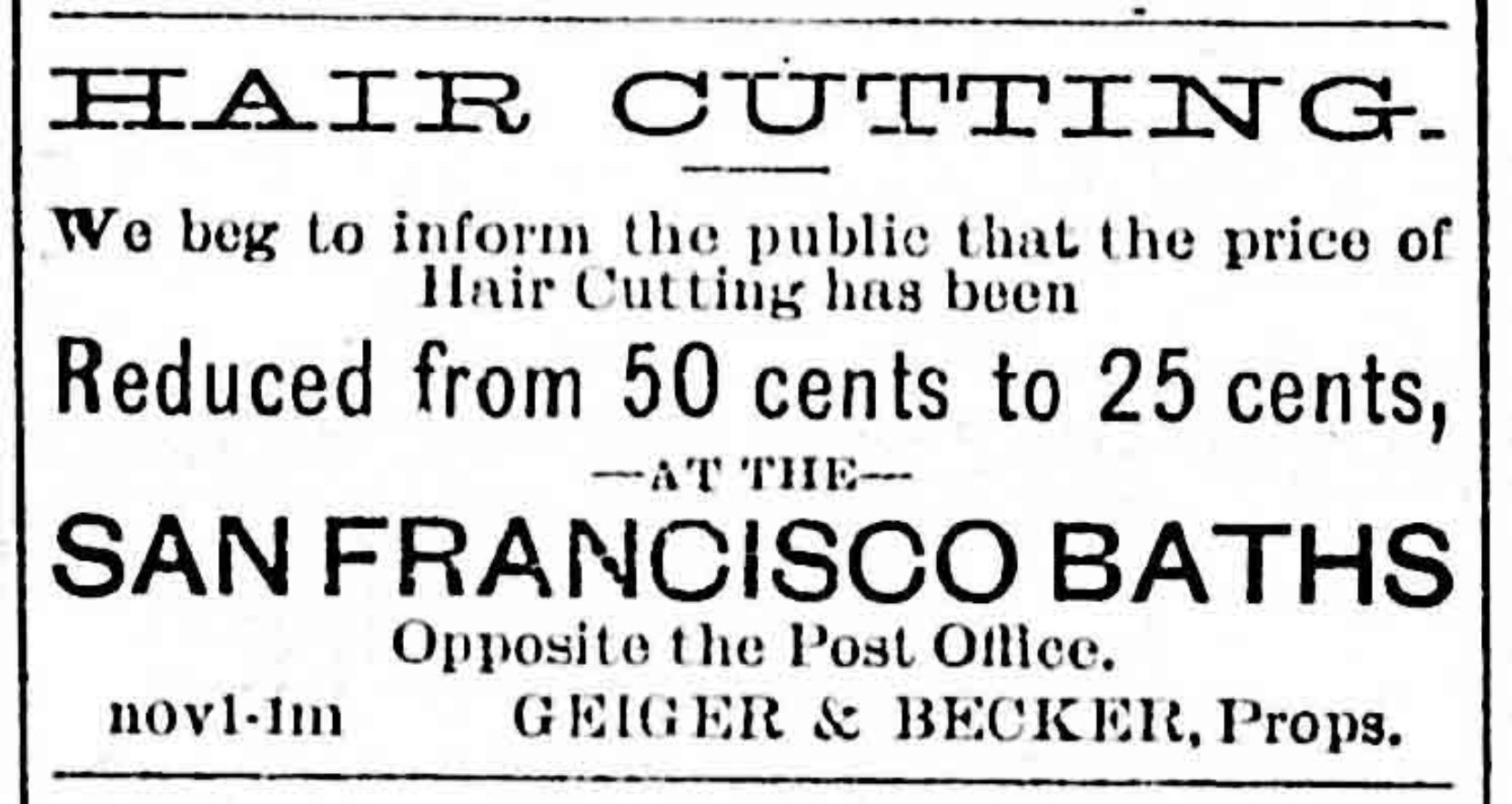 Advertisement for John F. Becker's San Francisco Baths, 1889