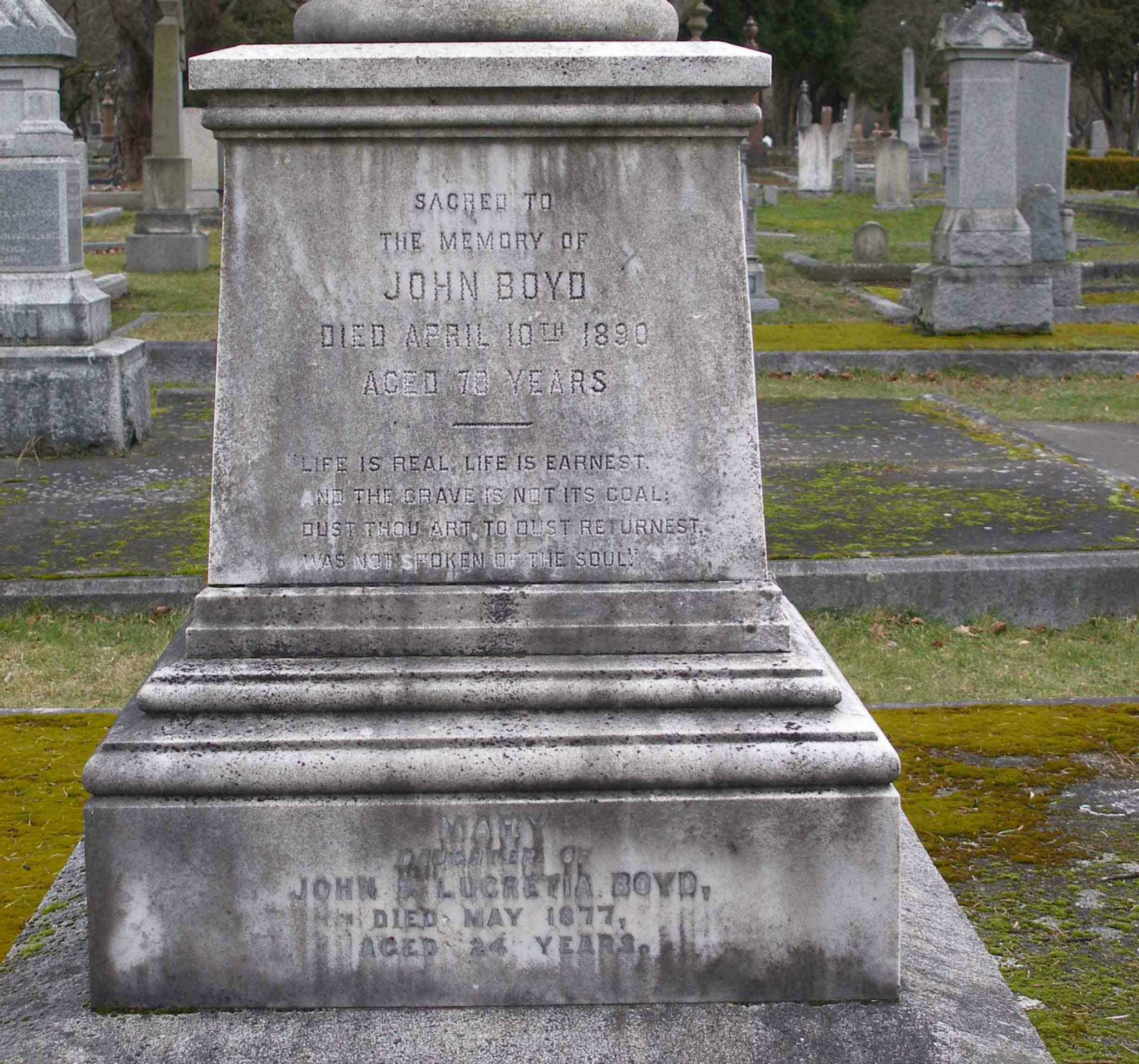 John Boyd grave inscription, Ross Bay Cemetery, Victoria, B.C.