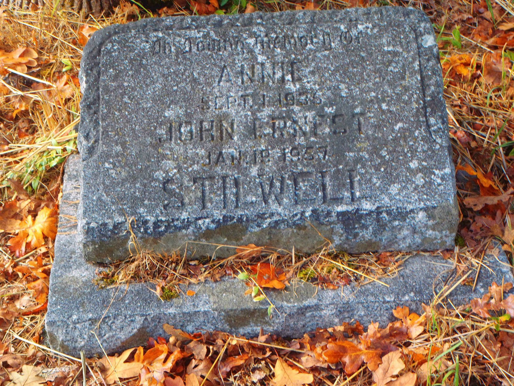 John Ernest Stilwell grave marker, St. Peter's Quamichan Anglican cemetery, North Cowichan