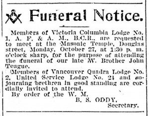 John Teague funeral notice in the Victoria newspapers, 1902.