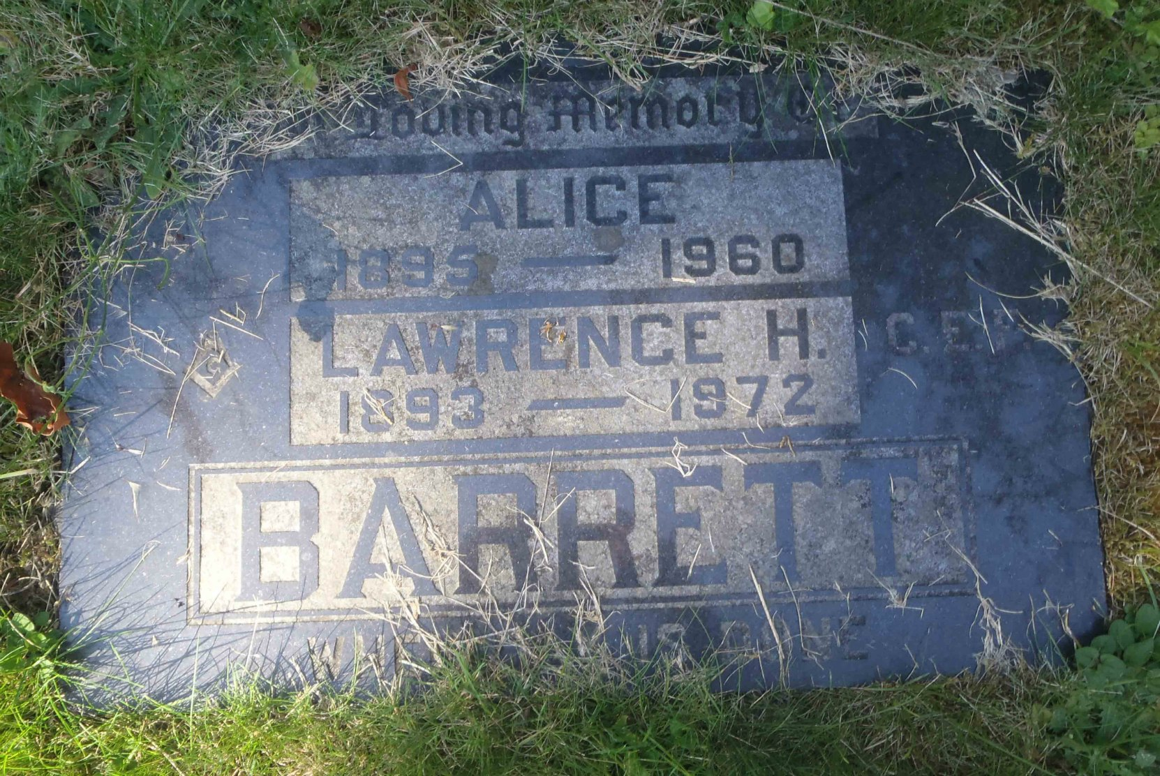 Lawrence Barrett (1893-1972) grave marker, St. Andrew's Anglican Cemetery, Cowichan Station, B.C.
