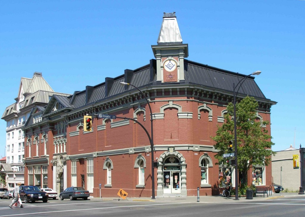 Victoria Masonic Temple, 650 Fisgard Street. Built in 1878 with additions in 1909.