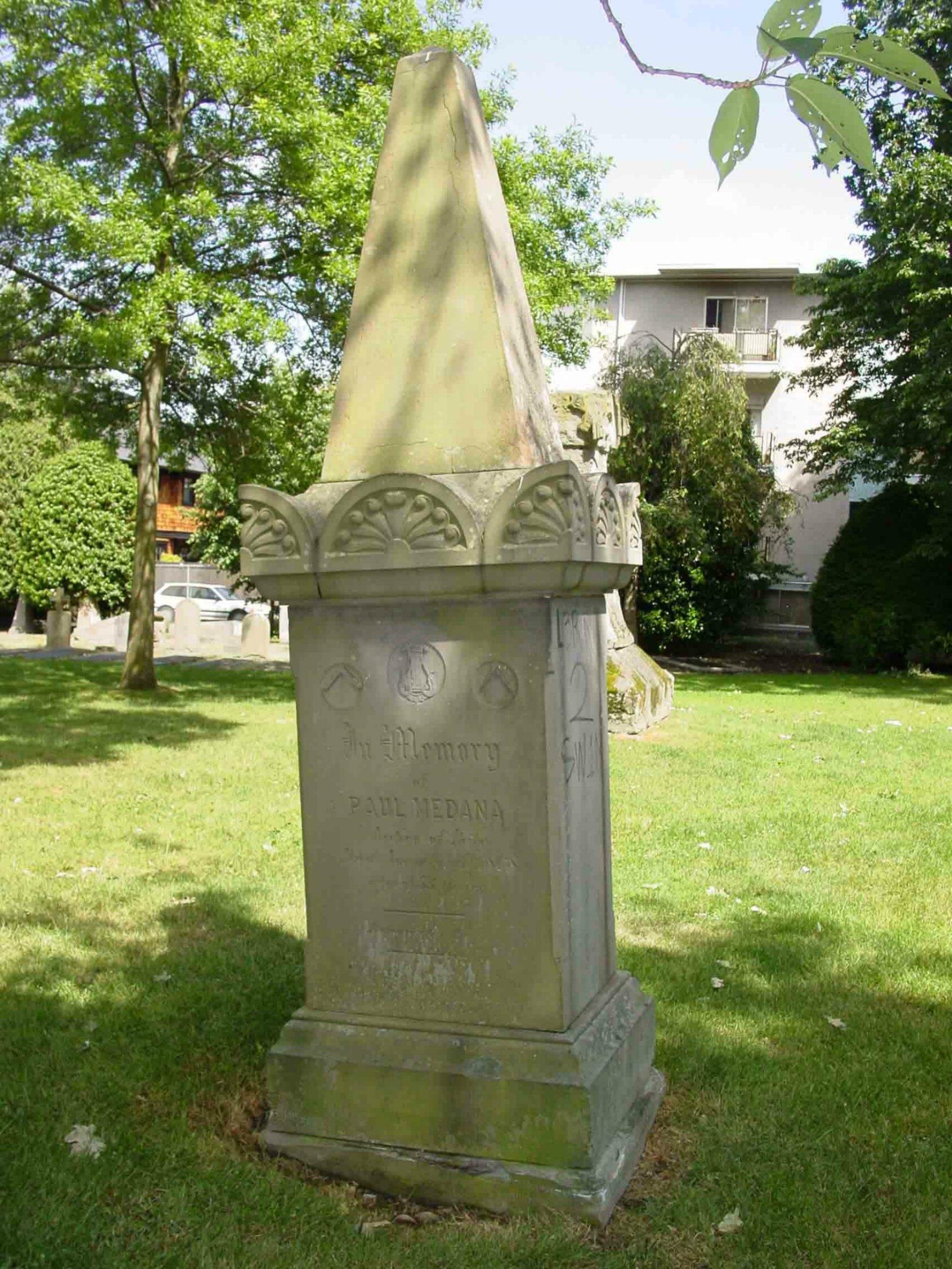 Paul Medana grave marker, Pioneer Square, Victoria, B.C.
