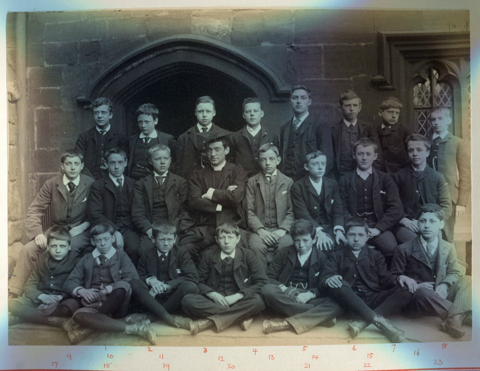 "The ""Lower Classical Remove"" class of 1890 at Manchester Grammar School. Richard Guy Mellin is #2, in the back row, second from left (photo courtesy of Manchester Grammar School, used with permission)"