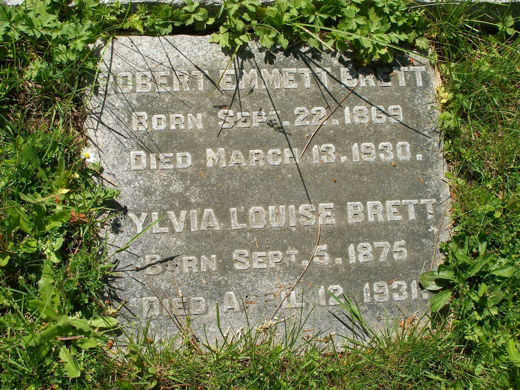 Robert Emmett Brett grave marker, Ross Bay Cemetery. Victoria, B.C.