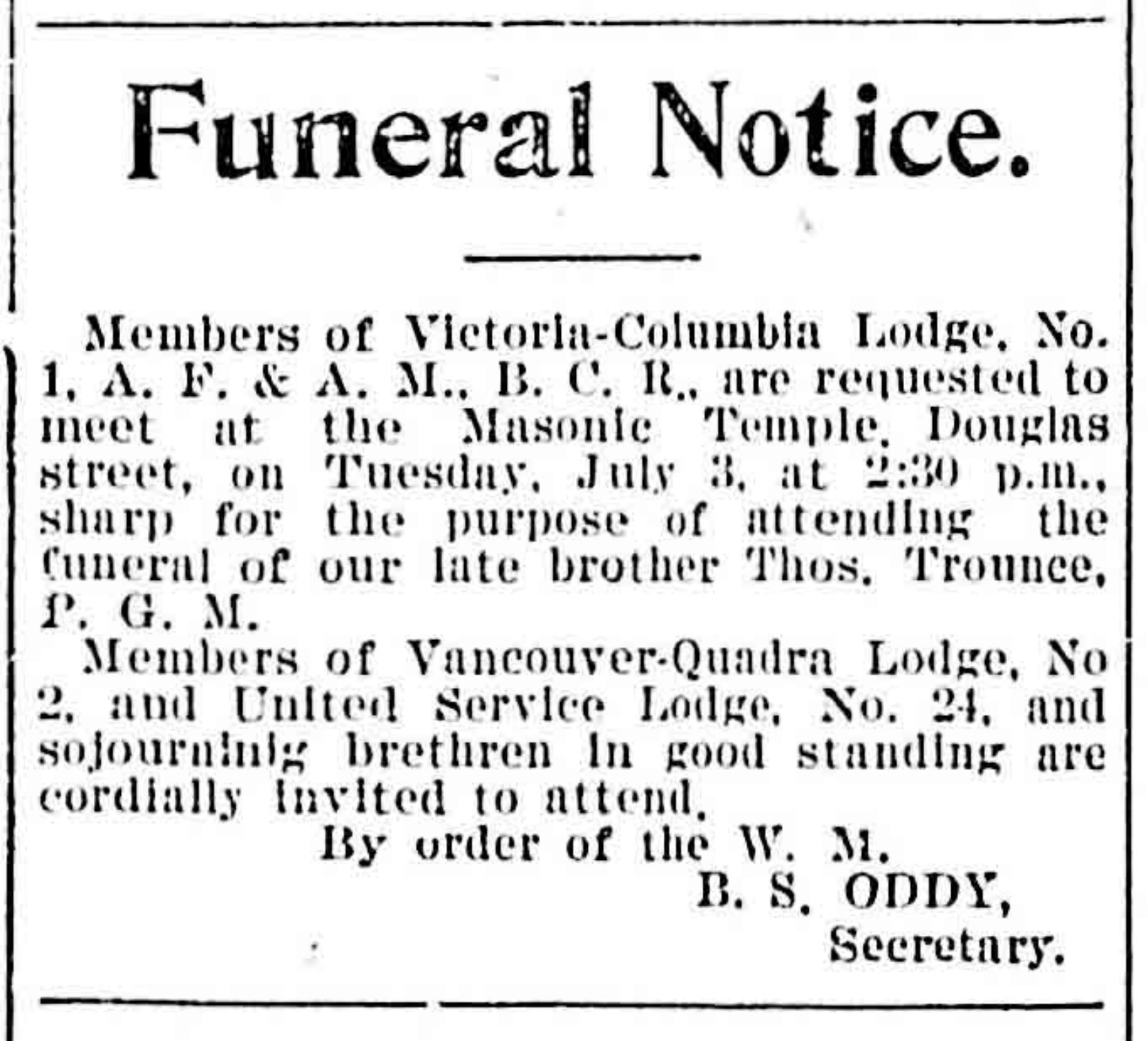 Thomas Trounce funeral notice, Daily Colonist. July 1900