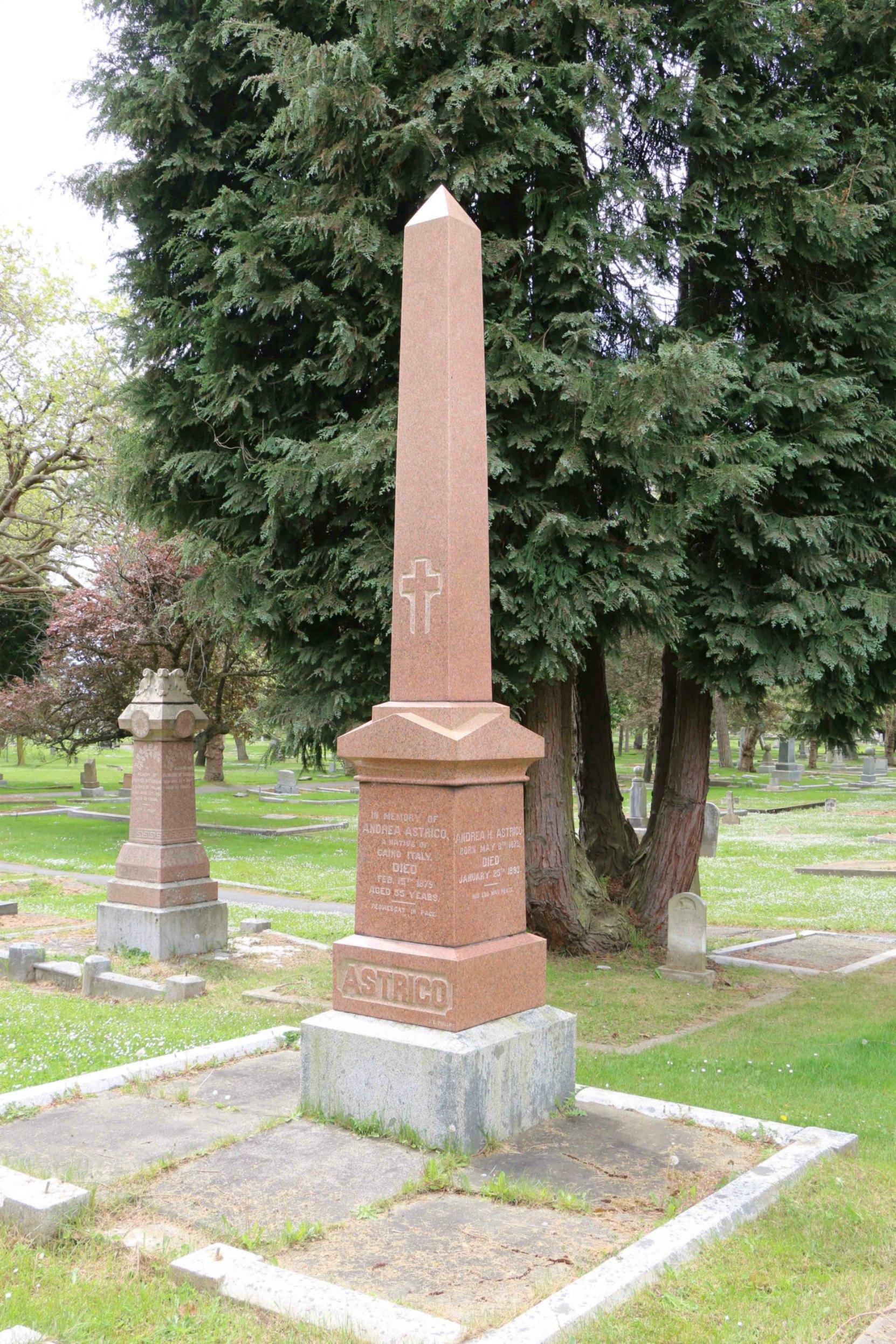 Andrea Astrico grave, Ross Bay Cemetery, Victoria, B.C.