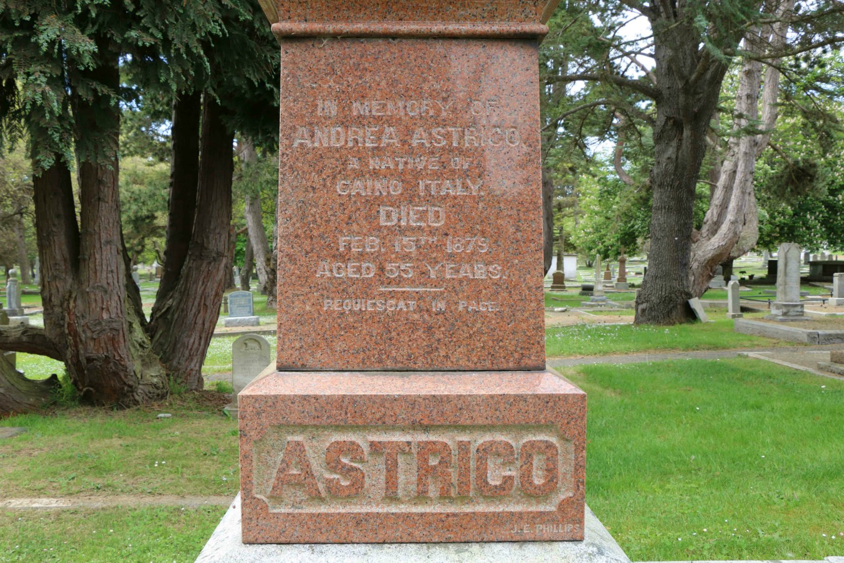 Inscription on Andrea Astrico grave, Ross Bay Cemetery, Victoria, B.C.