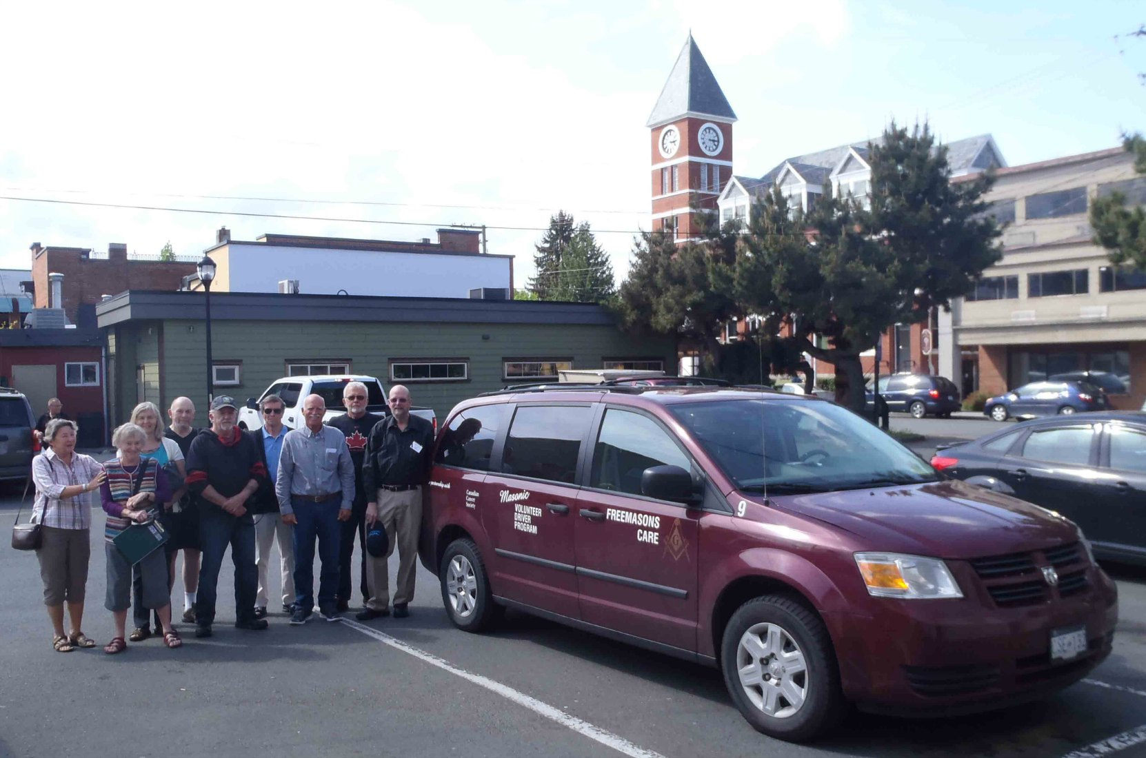 The Cancer Car vehicle now stationed in Duncan with some of the volunteers running the Freemasons Cancer Car Program in the Cowichan Valley.