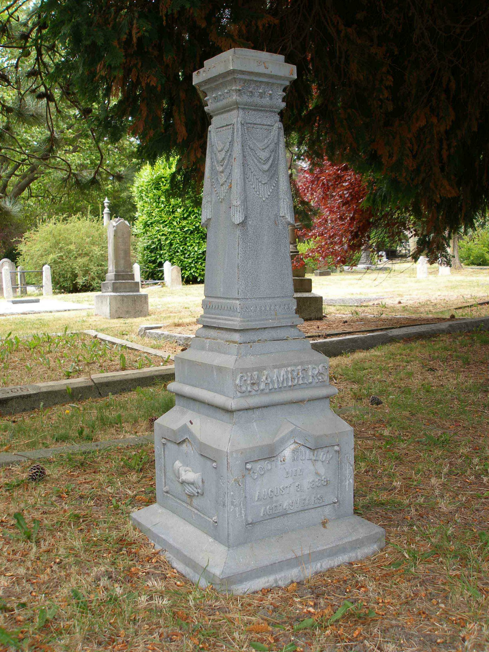 Grave of Coote Mulloy Chambers, Past Grand Master, in Ross Bay Cemetery, Victoria, B.C.