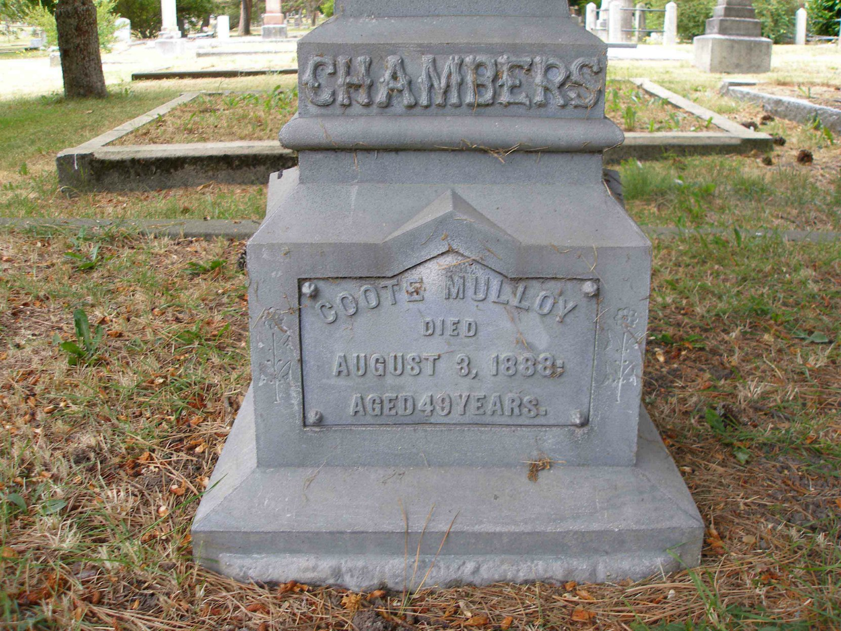 Inscription on the grave of Coote Mulloy Chambers, Past Grand Master, in Ross Bay Cemetery, Victoria, B.C.