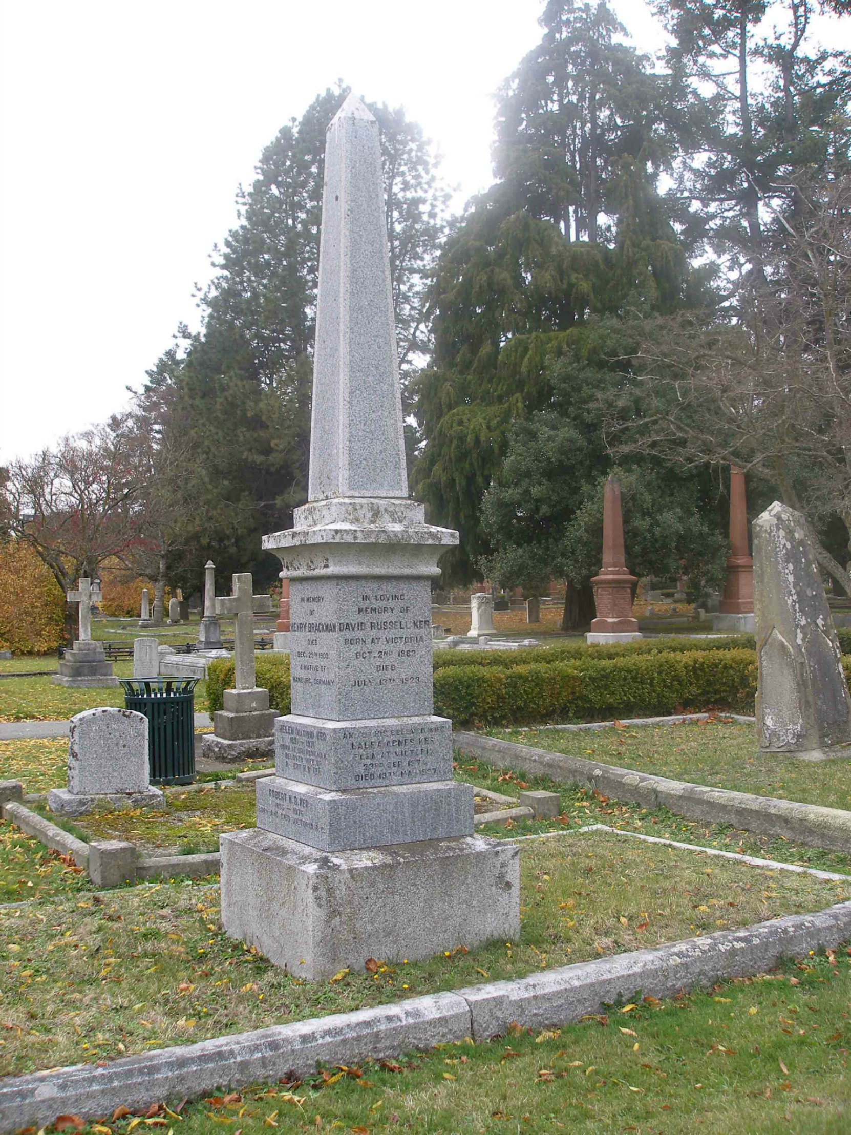 David Russell Ker, family grave, Ross Bay Cemetery, Victoria, B.C.