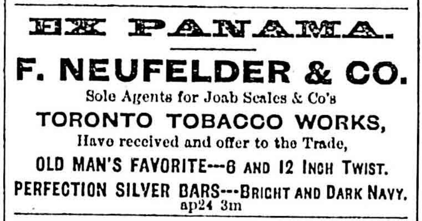 Advertisement for Felix Neufelder & Co., 1878.