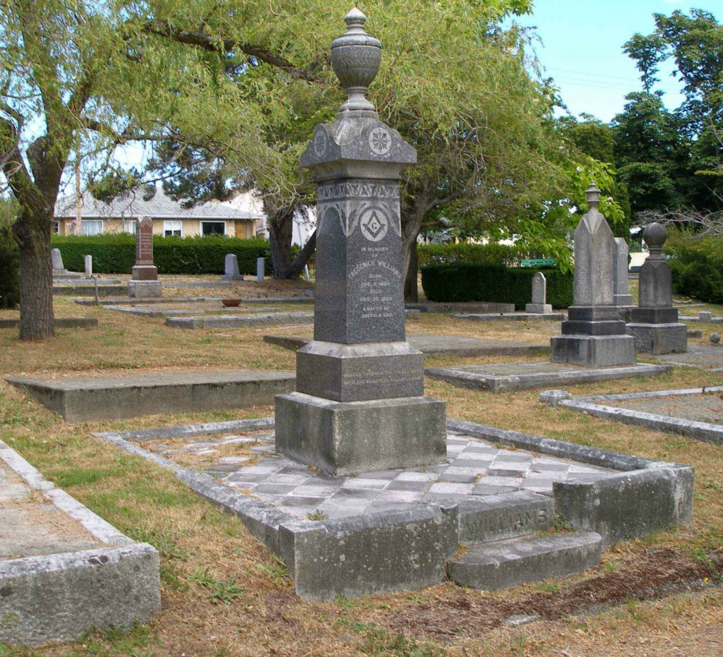 The grave of Frederick Williams, Past Grand Master, in Ross Bay Cemetery, Victoria, B.C.