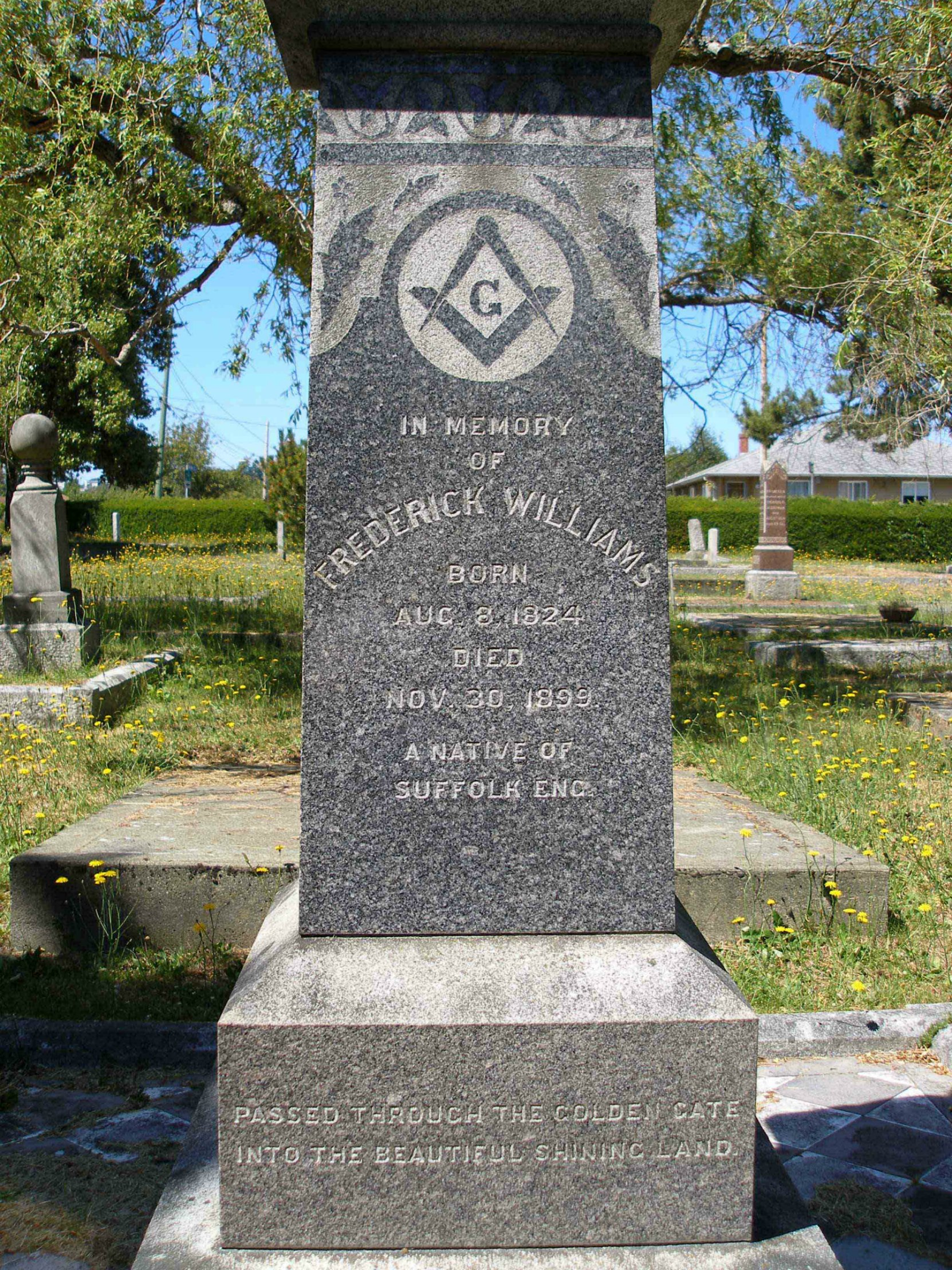 The inscription on the grave of Frederick Williams, Past Grand Master, in Ross Bay Cemetery, Victoria, B.C.