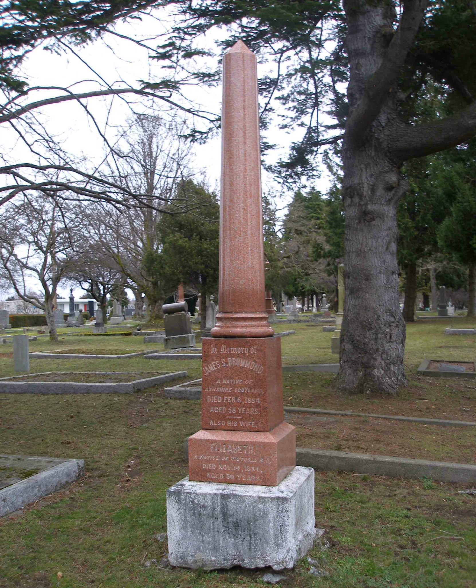 James Smith Drummond grave, Ross Bay Cemetery, Victoria, B.C.