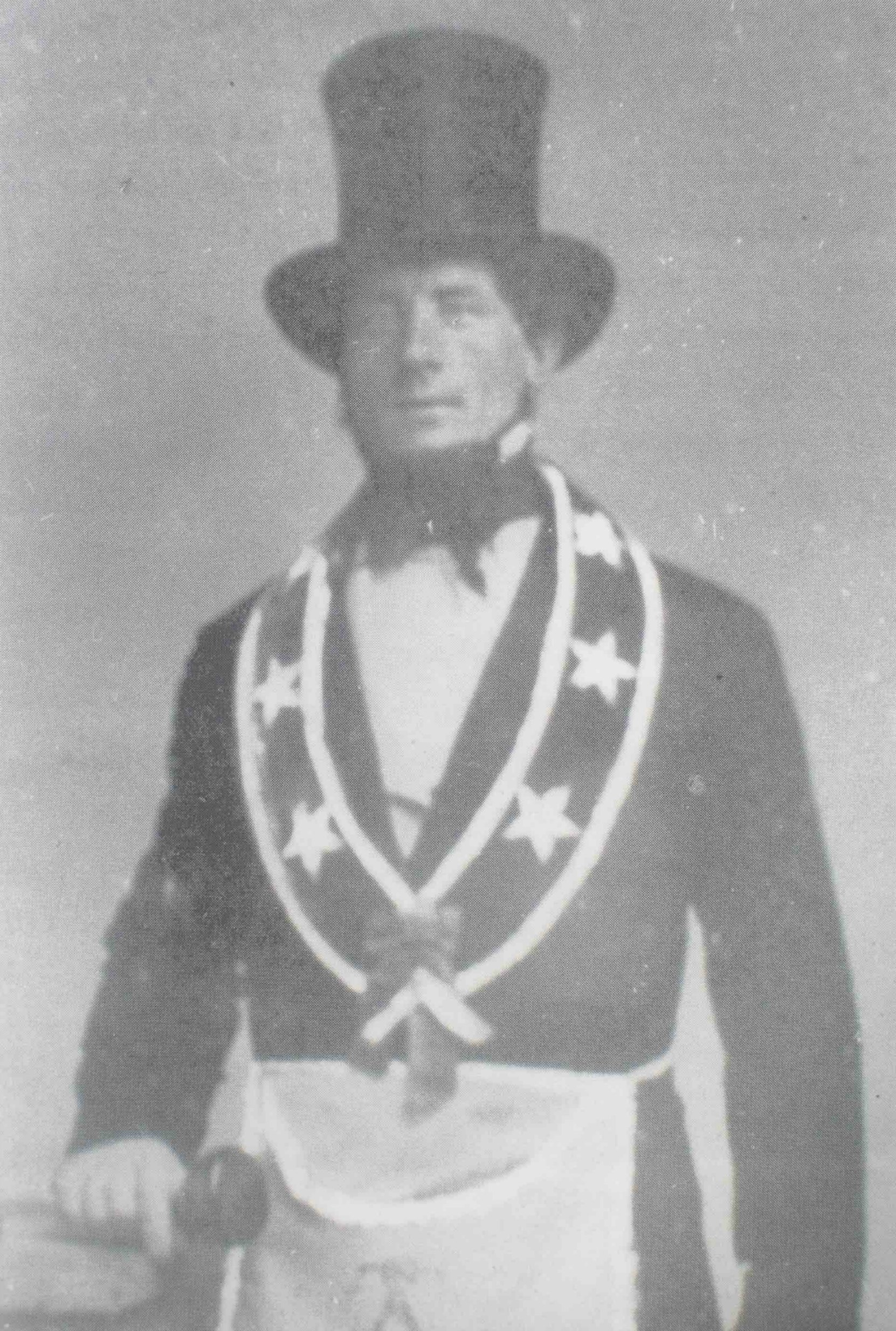 Richard Lewis, circa 1855, in California Masonic regalia.