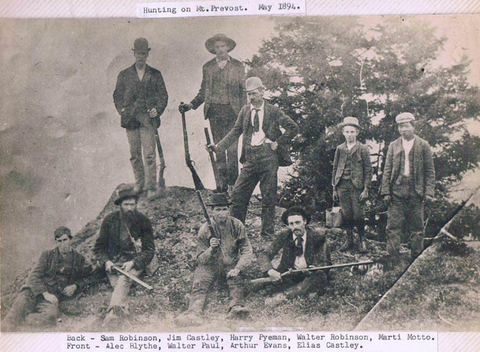 Temple Lodge charter member Samuel Robinson as part of a hunting expedition on Mt. Prevost, north of Duncan. (photo courtesy of Sylvia J. Dyer, used with permission)