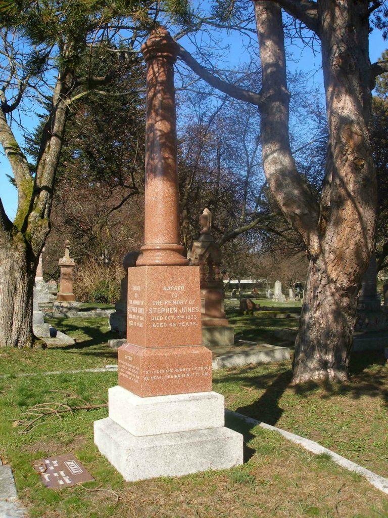 Stephen Jones family grave, Ross Bay Cemetery, Victoria, B.C.