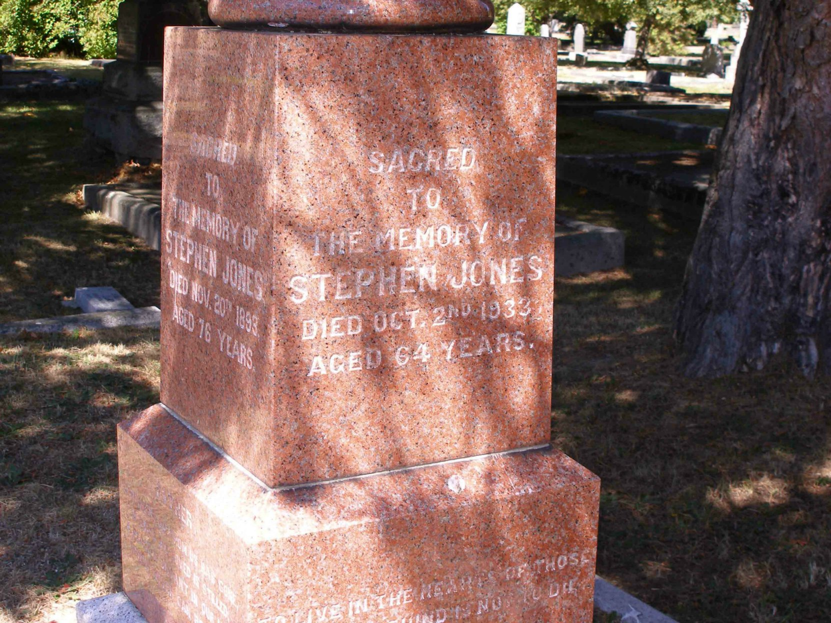 Inscription on Stephen Jones grave, Ross Bay Cemetery, Victoria, B.C.