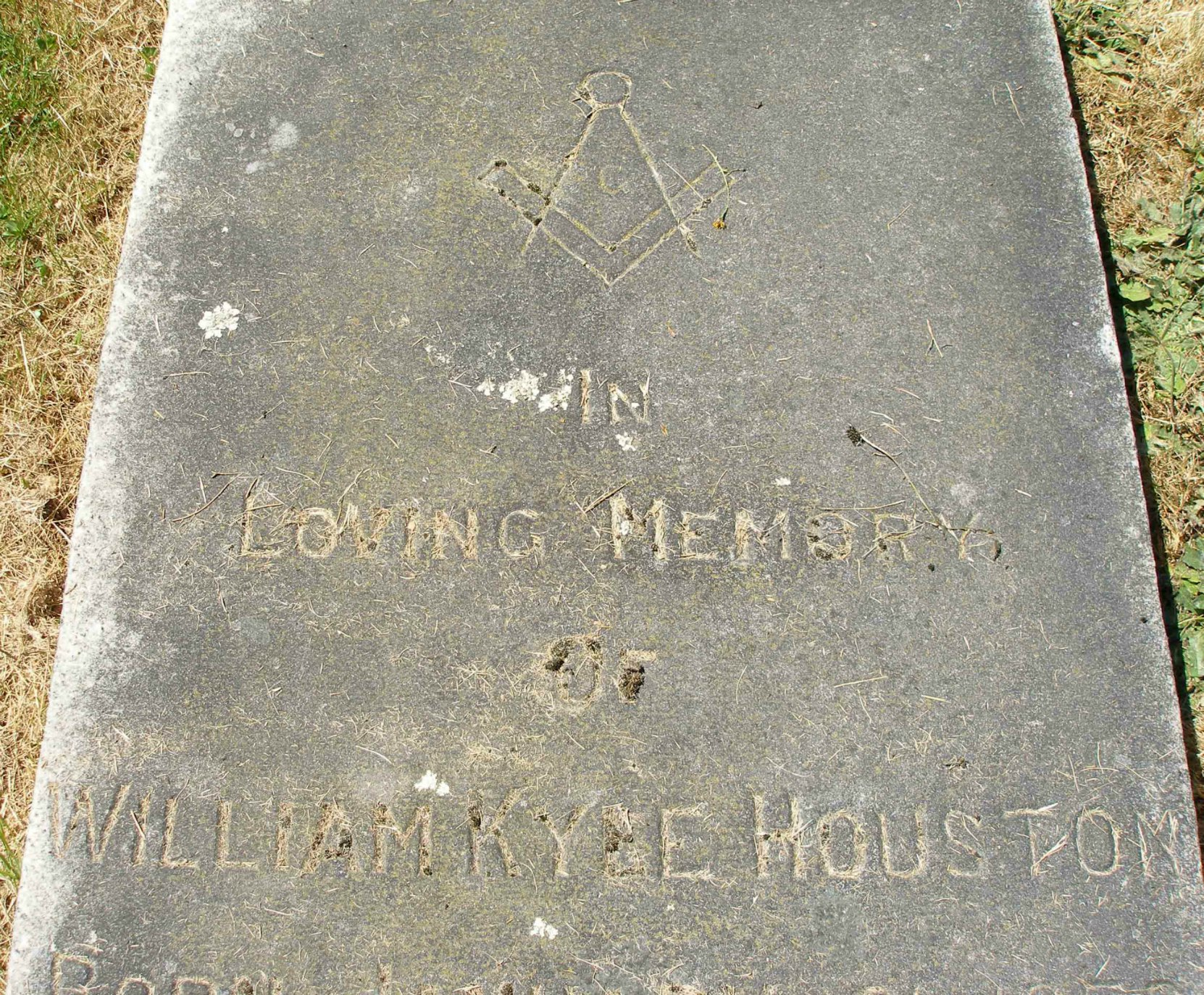 Inscription on William Kyle Houston grave, Ross Bay Cemetery, Victoria, B.C.