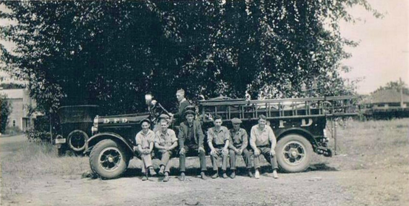 Members of the Duncan Volunteer Fire Department in the summer of 1929. Driver: Cap Townsend. Left to right: Bruce McNichol, Les Talbot, Mr. Wilmot, Josey Evans, Roy Batstone, Daniel R. Hattie, Claude Green (photo courtesy of Sylvia J. Dyer - family collection, used with permission)
