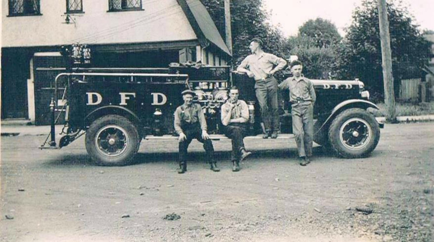 Members of the Duncan Volunteer Fire Department in the summer of 1929 outside the old Fire Hall on Canada Avenue (now demolished). Left to right: Daniel R. Hattie, Bill Talbot, Claude Green, Melvin Harris (photo courtesy of Sylvia J. Dyer - family collection, used with permission)