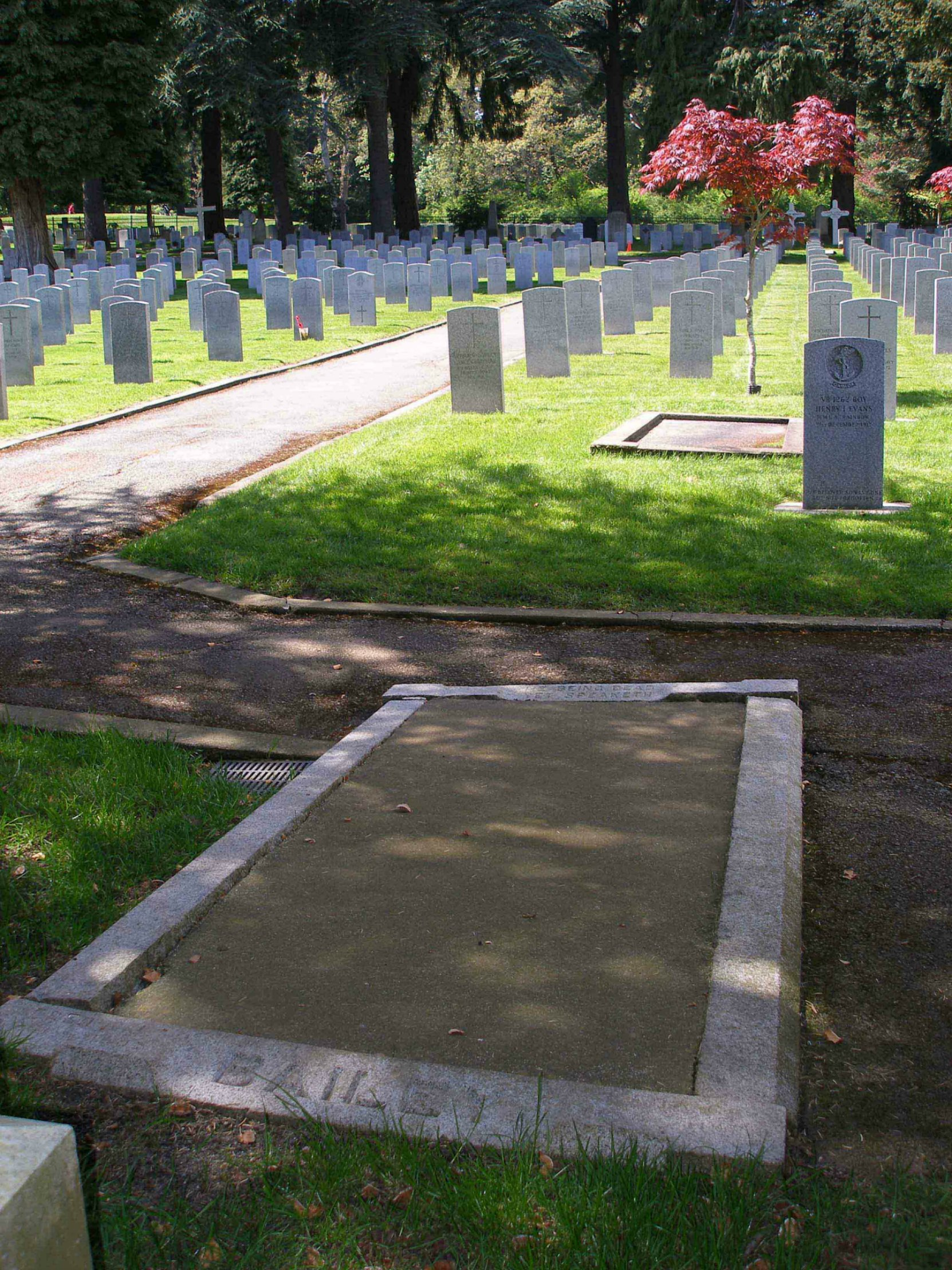 The grave of Frederick James Bailey in the Naval & Veterans cemetery, Esquimalt, B.C.