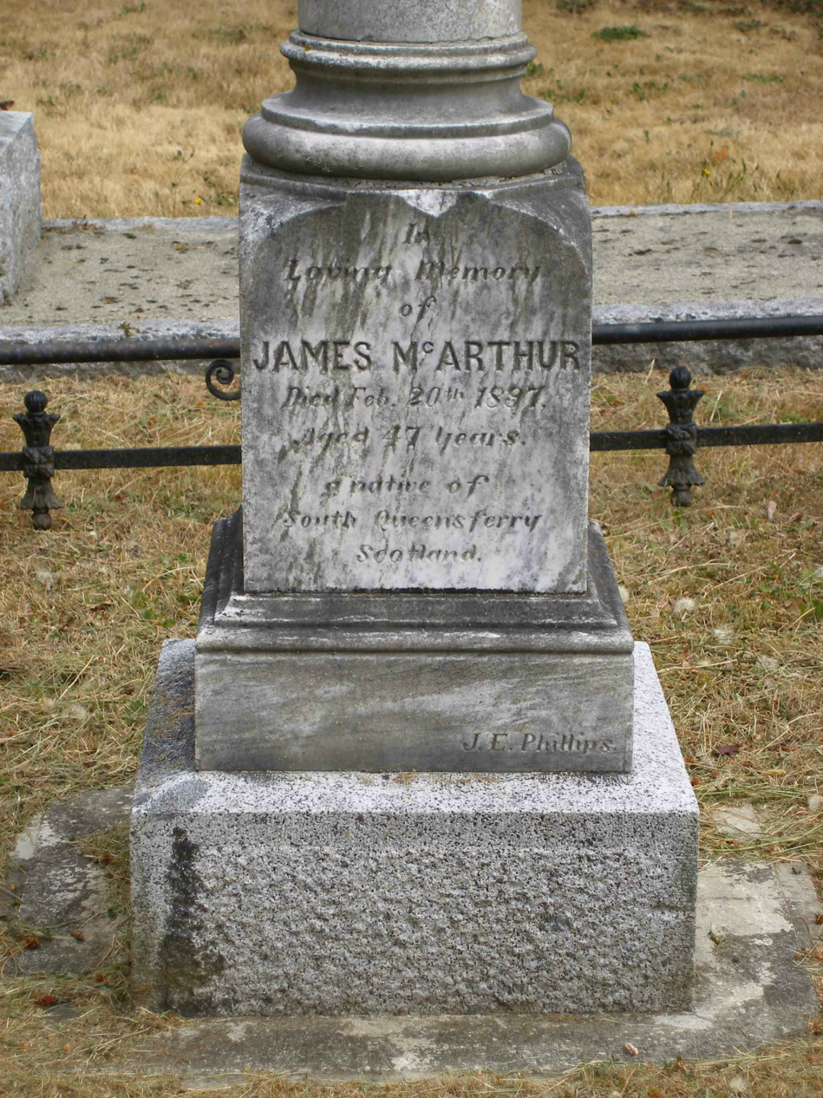 Inscription on James McArthur grave, Ross Bay Cemetery, Victoria, B.C.