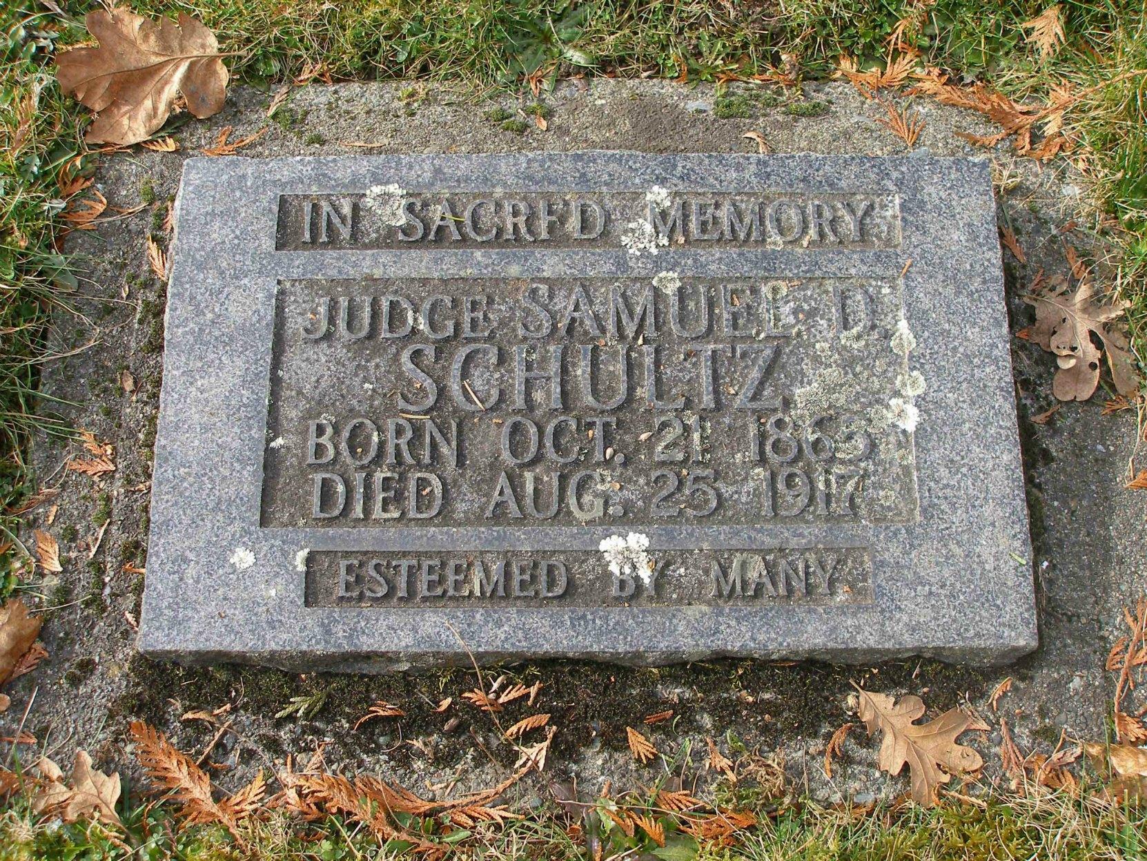 Samuel Davies Schultz (1865-1917), grave marker, Victoria Jewish Cemetery, Victoria, B.C.