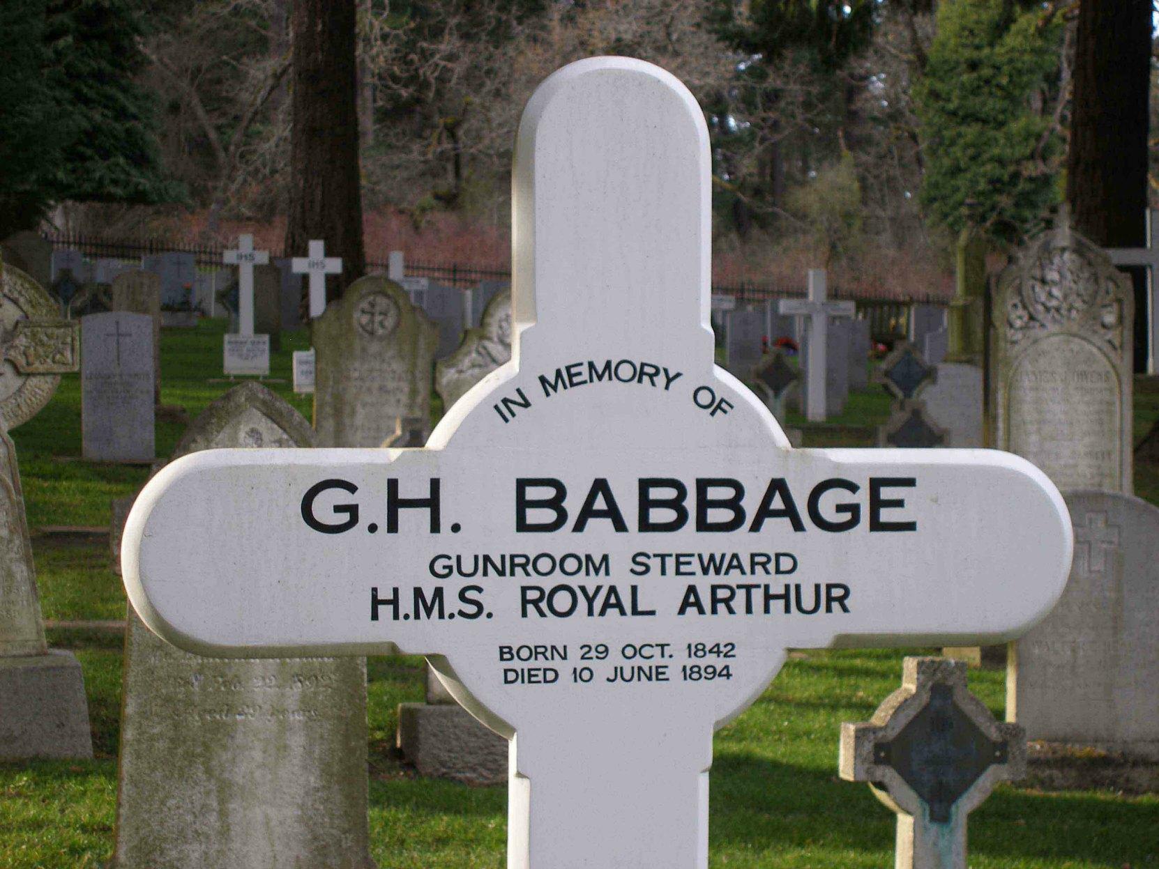 George Henry Babbage, grave marker inscription, Naval & Veterans Cemetery, Esquimalt, B.C.
