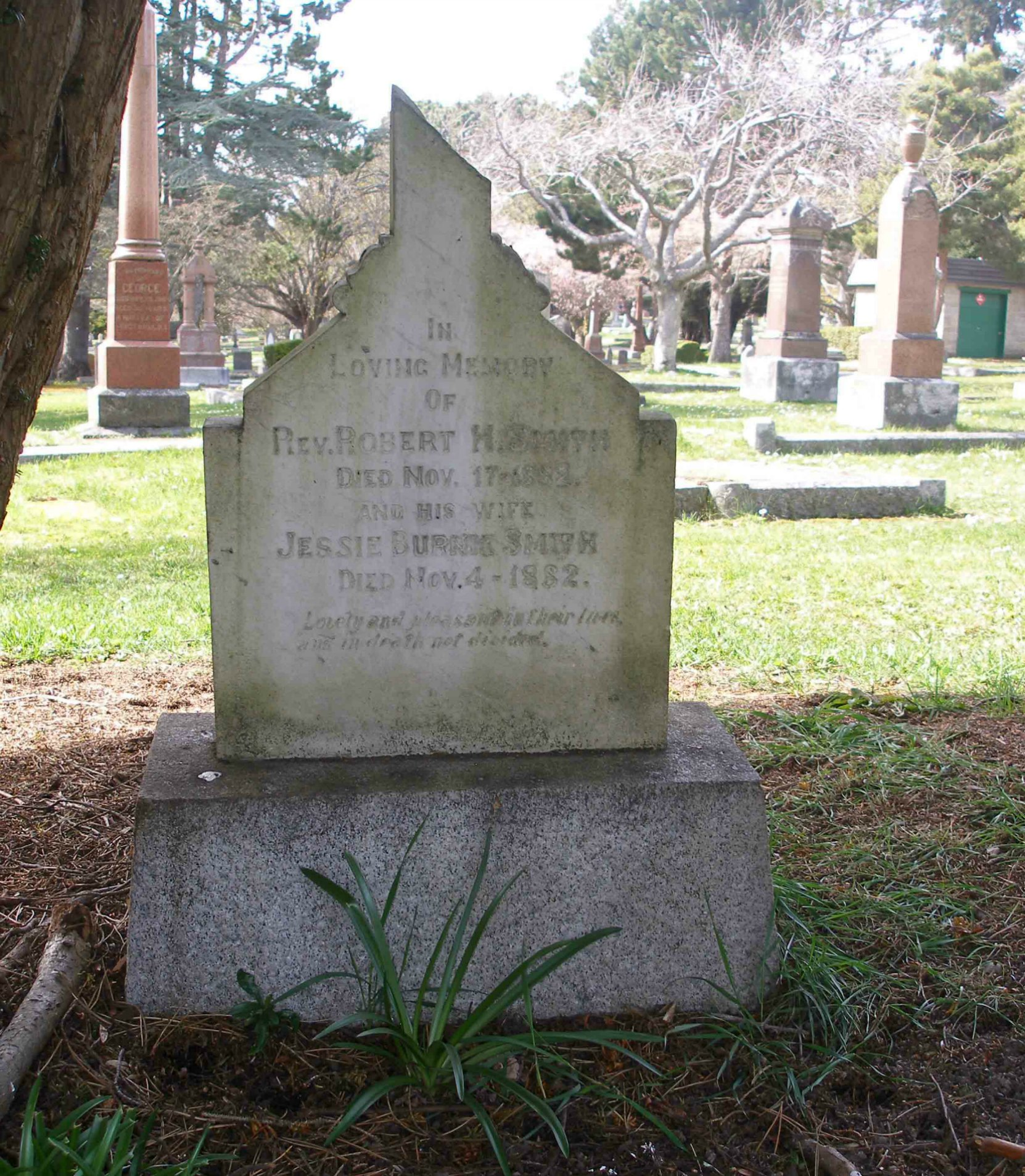 The grave of Reverend Robert Hall Smith and Jessie Burnes Smith, Ross Bay Cemetery, Victoria, B.C.