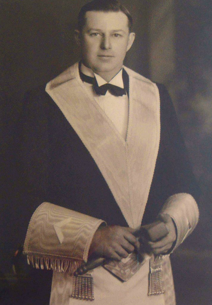 Robert Bulmer Waldon as Worshipful Master of Temple Lodge, No.33 in 1934.