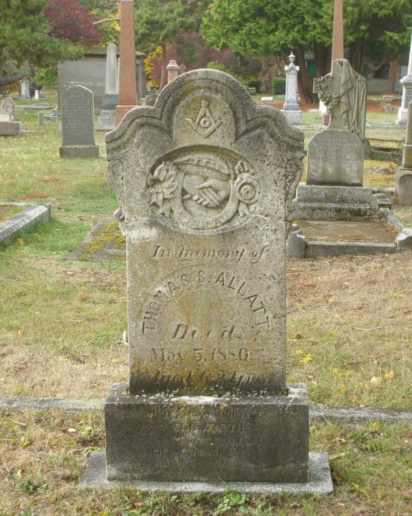 Thomas Smith Allatt grave, Ross Bay Cemetery, Victoria, B.C.