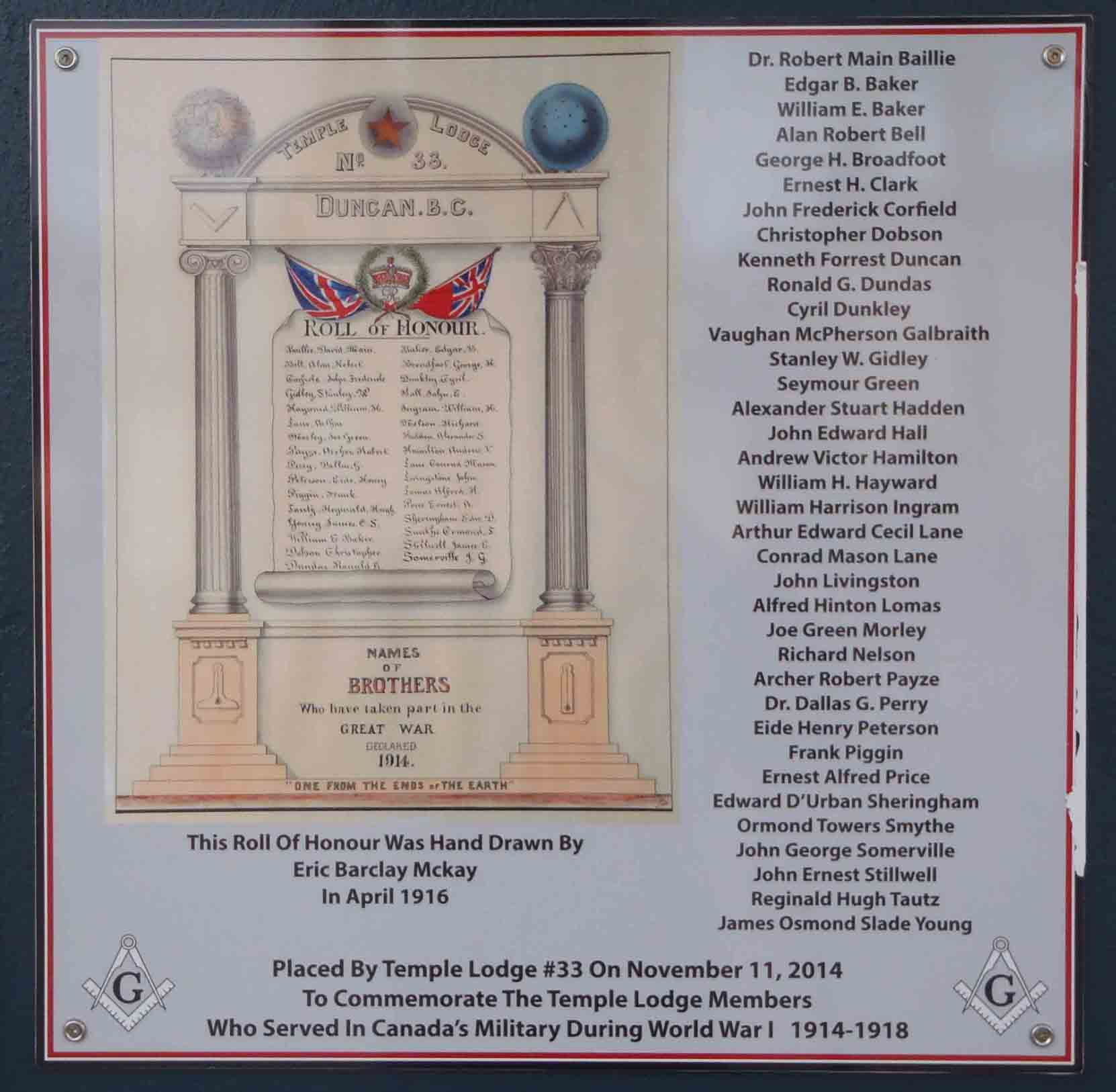 Plaque at the entrance of Duncan Masonic Temple commemorating the Temple Lodge First World War Veterans