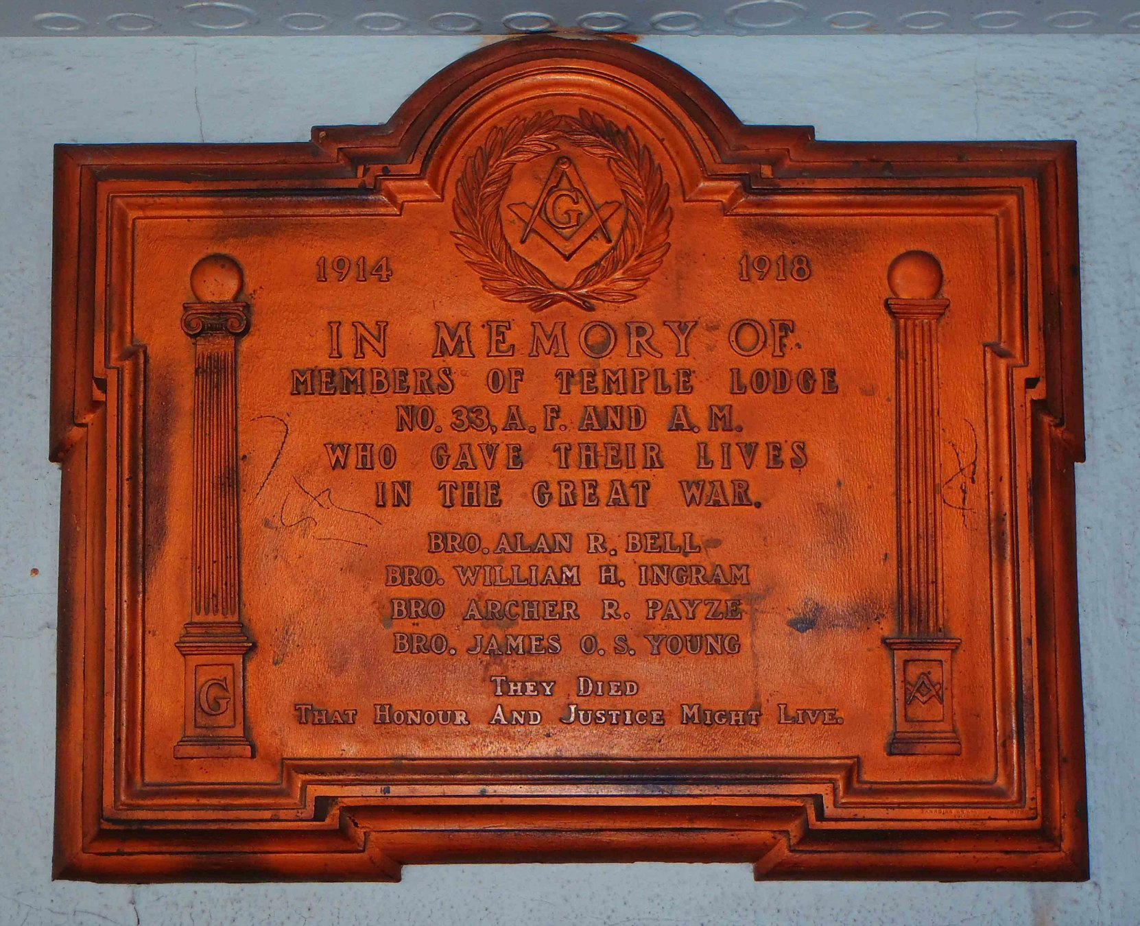 This solid bronze memorial plaque was placed at the entrance to the Duncan Masonic Temple in 1920 to honour the four Brethren of Temple Lodge, No 33 who died in Canada's military service during the First World War
