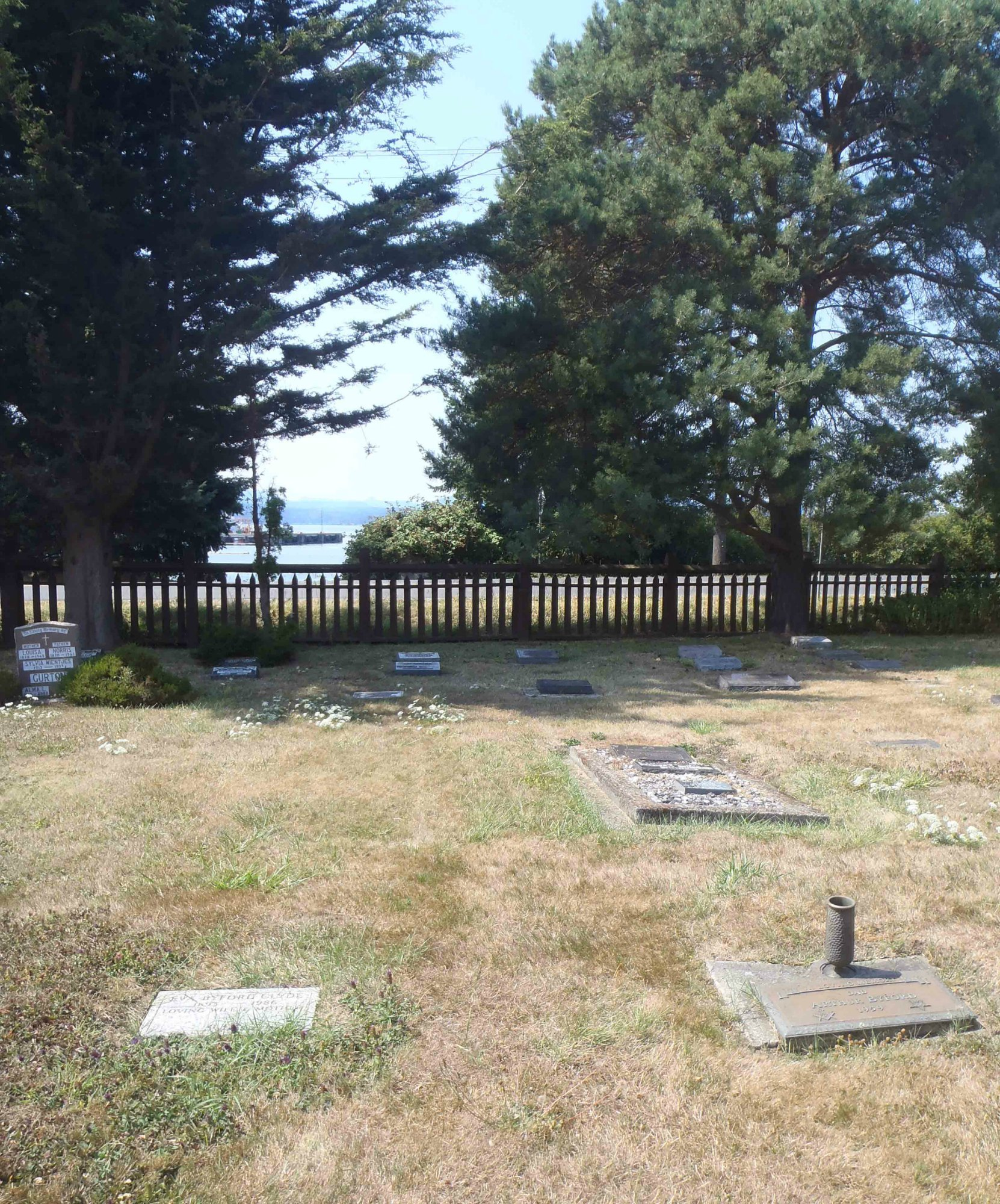 The graves of Arthur Byford and Eva Byford Clyde, Holy Trinity Anglican cemetery, North Saanich, B.C.