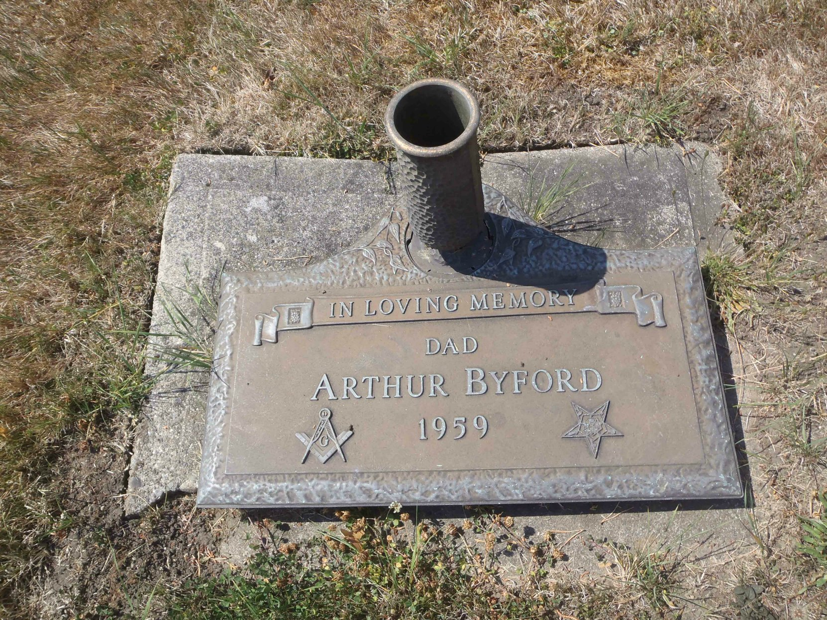 Arthur Byford grave marker, Holy Trinity Anglican cemetery, North Saanich, B.C.
