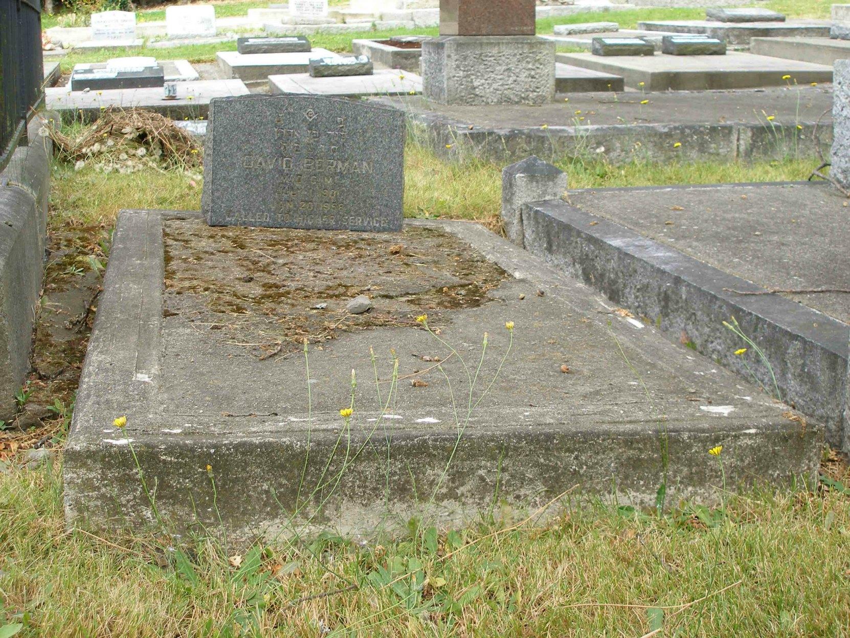 David Berman grave, Victoria Jewish Cemetery, Victoria, B.C.