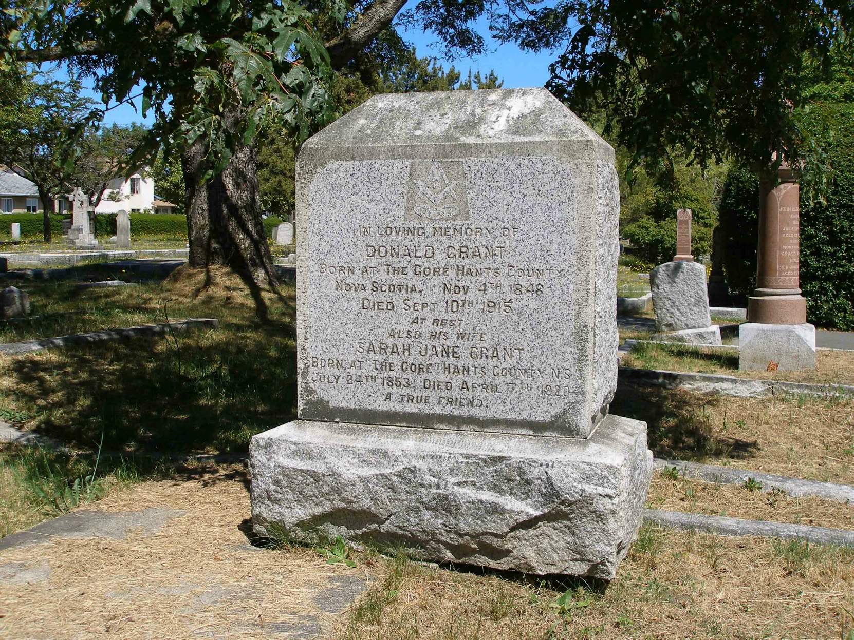 The grave of Donald Grant and Sarah Jane Grant, Ross Bay Cemetery, Victoria, B.C.
