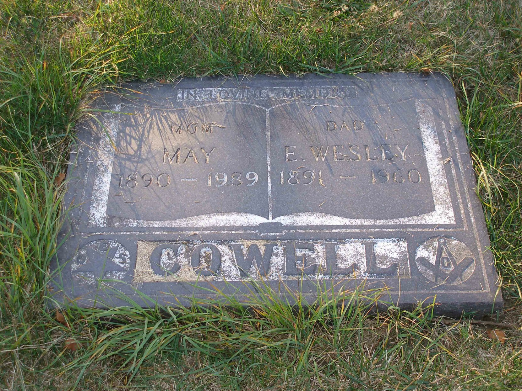 E. Wesley Cowel grave marker, Holy Trinity Anglican cemetery, North Saanich, B.C.
