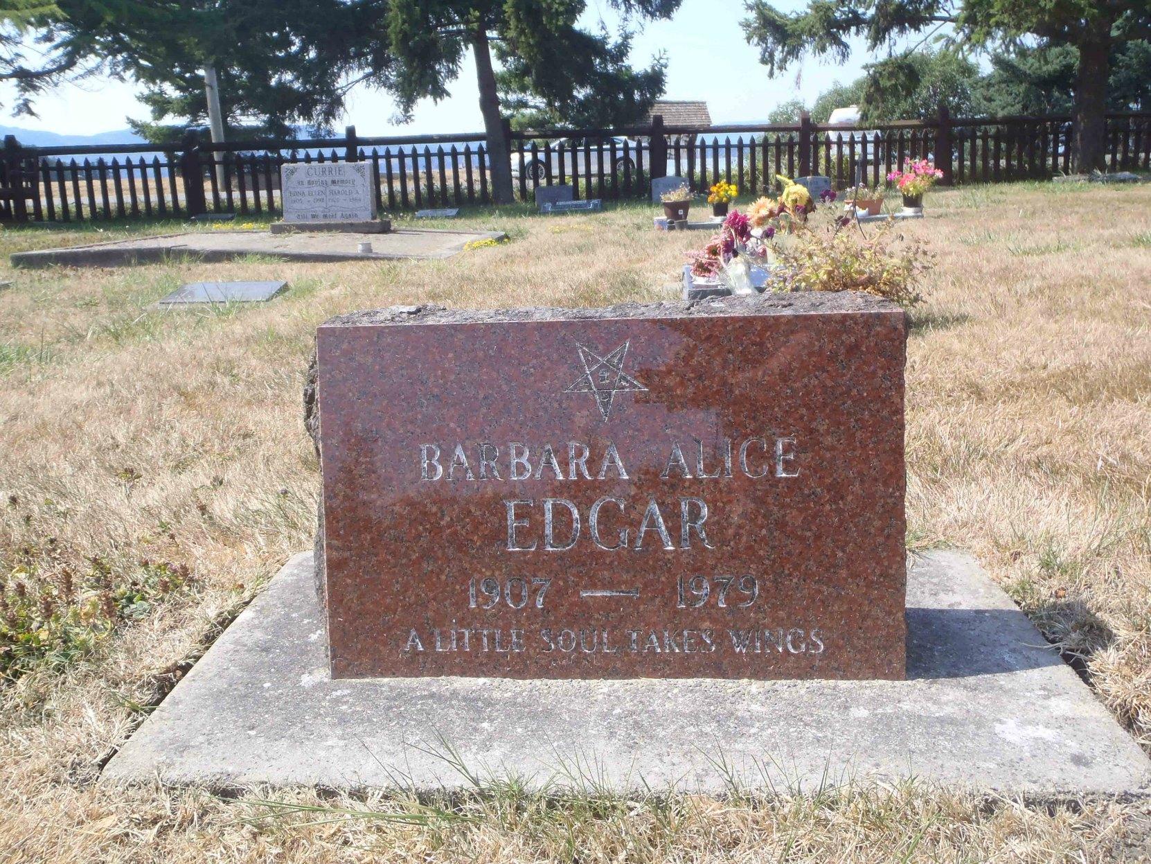 Barbara Alice Edgar grave marker, Holy Trinity Anglican cemetery, North Saanich, B.C.