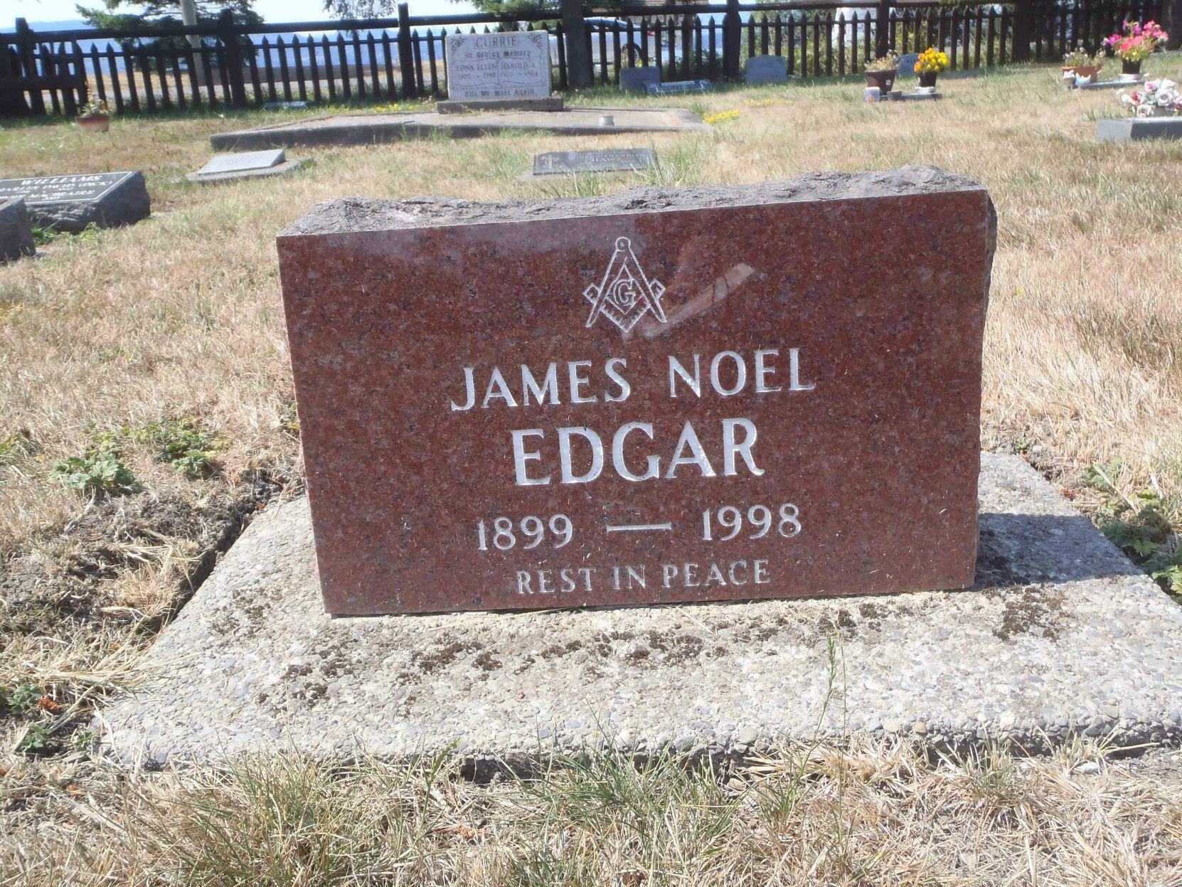 James Noel Edgar grave marker, Holy Trinity Anglican cemetery, North Saanich, B.C.