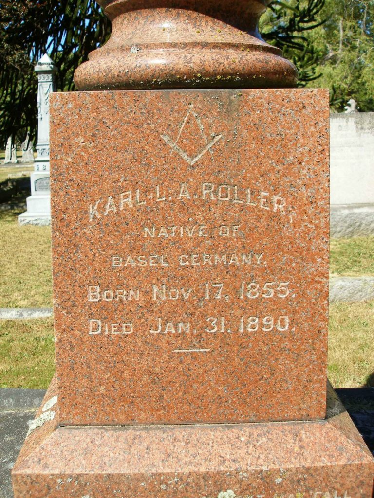 Karl Louis A. Roller grave incription, Ross Bay Cemetery, Victoria, B.C.