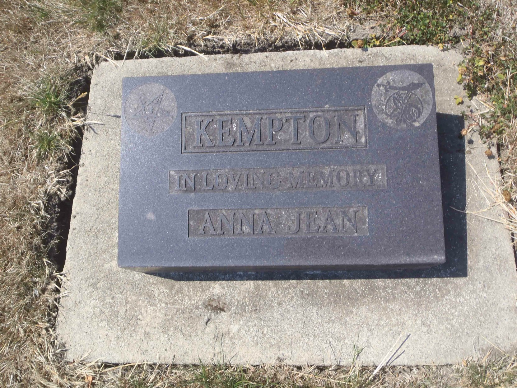 Anna Jean Kempton grave marker, Holy Trinity Anglican cemetery, North Saanich, B.C.