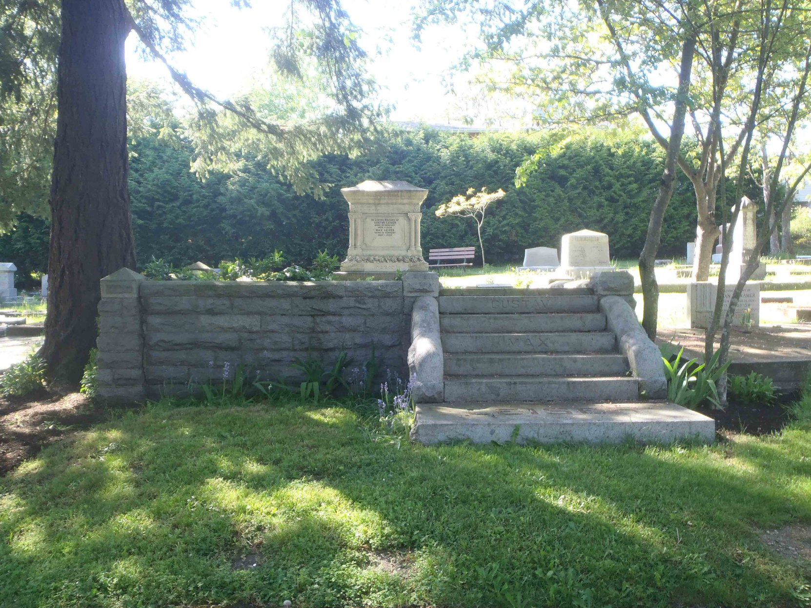 Grave of Gustav Leiser (1856-1896) and Max Leiser (1862-1935) in Victoria Jewish Cemetery, Victoria, B.C.